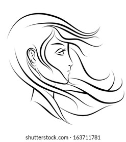 stylized woman face profile. Black outlines. Vector illustration