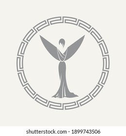 Stylized woman in long evening dress in Greek circle frame raised her arms-wings in victory gesture