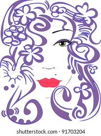 stylized woman's face