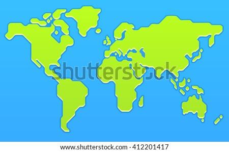 stylized world map modern flat vector illustration