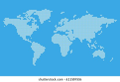 World map vector stylized images stock photos vectors shutterstock stylized world map on blue background digital pixel style vector illustration template gumiabroncs Image collections