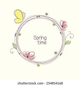 Stylized wreath with flowers and butterfly. Round floral frame for your text