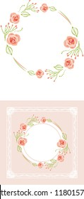 Stylized wreath of pink roses for greeting card. Vector