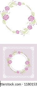 Stylized wreath of purple roses for greeting card. Vector