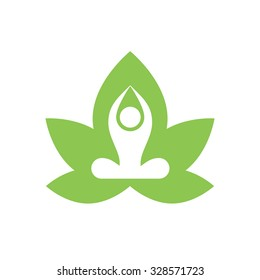 Stylized yoga lotus icon.