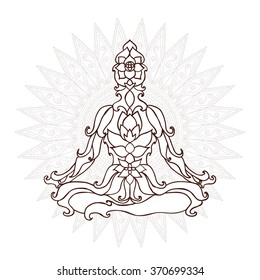 Stylized Yoga Pose of the ornaments of a mandala background. hand drawn.kaleidoscope, medallion, yoga, india, arabic.T-shirt printing. Coloring for adults T-shirt printing