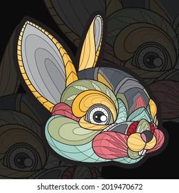 Stylized zentangle animal coloring rabbit illustration