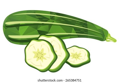 Stylized zucchini and slices isolated on a white background.