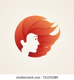 Stylizes woman's head with hair, logotype