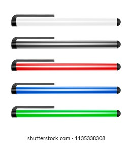 Stylus for mobile devices.Stylus for touch screens.Stylus for tablets and smartphones.Vector illustration.