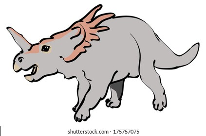 Styracosaurus dinosaur brush doodle illustration