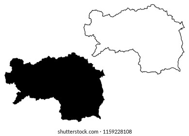 Styria (Republic of Austria) map vector illustration, scribble sketch Styria map