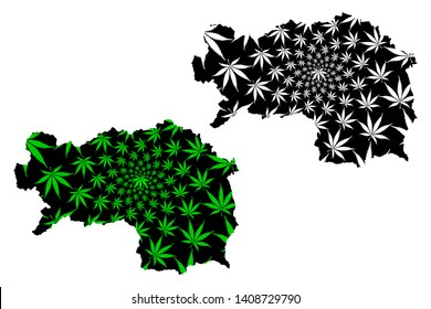 Styria (Republic of Austria, States of Austria) map is designed cannabis leaf green and black, Styria map made of marijuana (marihuana,THC) foliage,