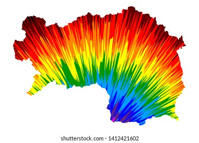 Styria (Republic of Austria, States of Austria) map is designed rainbow abstract colorful pattern, Styria map made of color explosion,