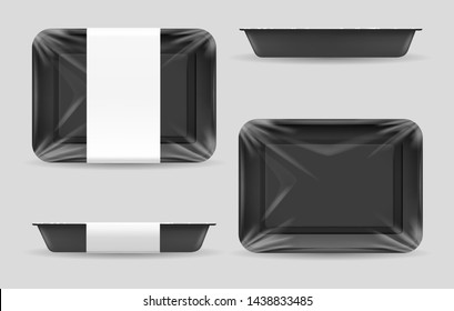 Styrofoam food storage. Dark food plastic tray, black foam meal container, empty fresh foods box vector illustration isolated on white background