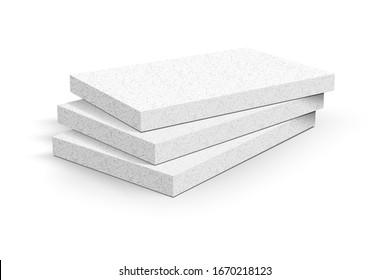 Styrofoam sheets on white background. Vector illustration.