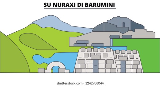 Su Nuraxi Di Barumini  line travel landmark, skyline, vector design. Su Nuraxi Di Barumini  linear illustration.