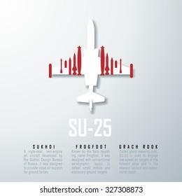 SU-25 SU-34 Russia Jet Bomber White 3D Graphic Vector Illustration EPS10