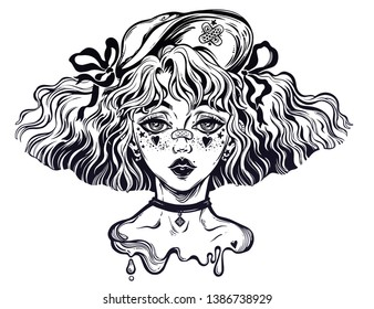 Sub culture girl with wavy hairstyle and cute make up and a cap. Kawaii and anime inspired woman. Youth culture, original style. tattoo art, t-shirt design, adult coloring book. Isolated vector.