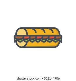 Sub Sandwich Icon Fast Food Colored