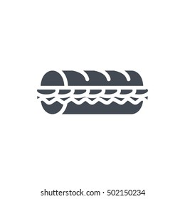 Sub Sandwich Icon Fast Food Solid silhouette