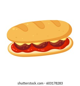 Sub sandwich with meatballs, cheese and tomato marinara sauce. Vector clip art illustration.