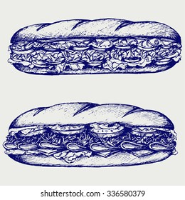 Sub Sandwich with sausage, cheese, lettuce and tomato. Doodle style