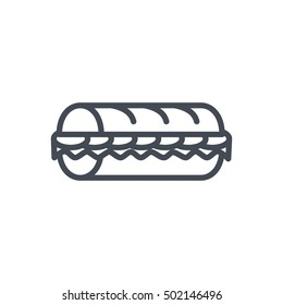 Sub Sanwich Icon Outlined Fast Food