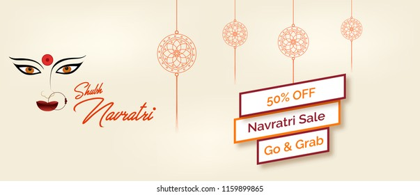 subh navratri sale banner design and vector illustration with traditional look. vector ma durga face illustration.