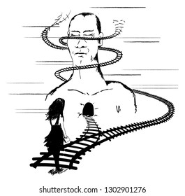 Subliminal Subway hand drawing. Abstract art, story about a man and woman. Railways and choices.