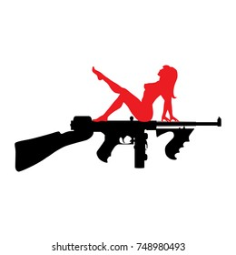 Submachine gun with girl silhouette icon. Classic american Chicago style concept from 1920 - 1930 years. Flat design graphics.