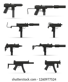 submachine machine hand gun weapons stock vector illustration isolated on white background