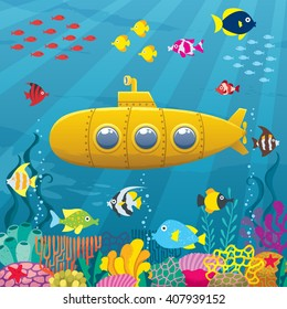 Submarine Background: Cartoon yellow submarine underwater.