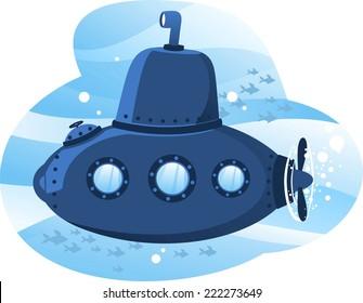 Submarine cartoon illustration