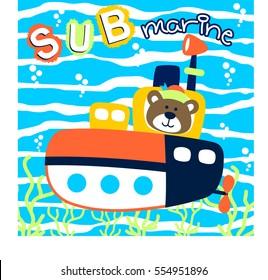 submarine with cute sailor under sea, vector cartoon