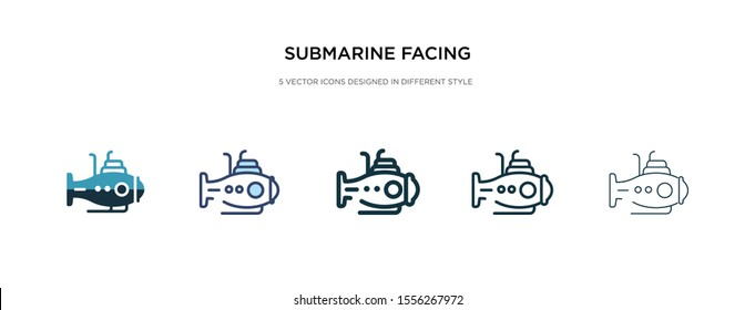 submarine facing right icon in different style vector illustration. two colored and black submarine facing right vector icons designed in filled, outline, line and stroke style can be used for web,