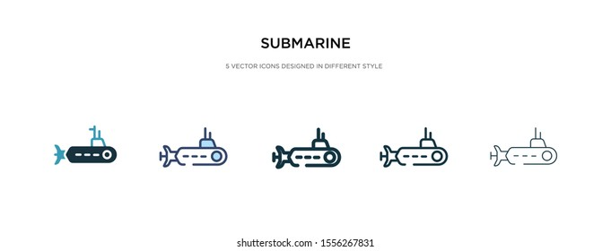 submarine icon in different style vector illustration. two colored and black submarine vector icons designed in filled, outline, line and stroke style can be used for web, mobile, ui