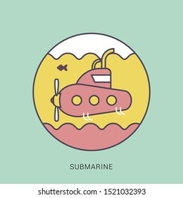 Submarine icon. flat illustration of submarine vector icon. solid color with outline concept.