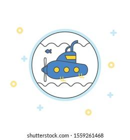 Submarine icon. flat illustration of submarine vector icon.