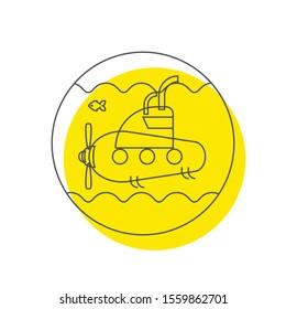 Submarine icon. flat illustration of submarine vector icon
