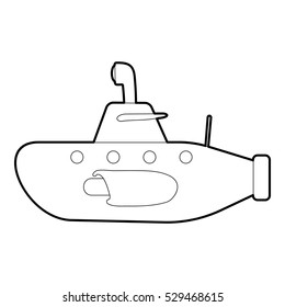 Submarine icon. Outline illustration of submarine vector icon for web