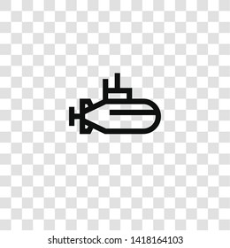 submarine icon from sea life collection for mobile concept and web apps icon. Transparent outline, thin line submarine icon for website design and mobile, app development