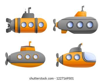 Submarine icon set. Cartoon set of submarine vector icons for web design