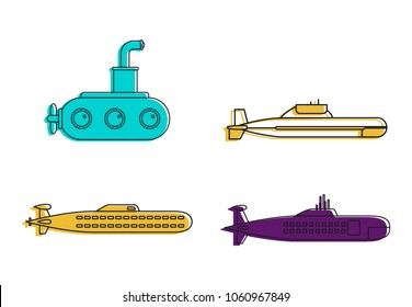 Submarine icon set. Color outline set of submarine vector icons for web design isolated on white background