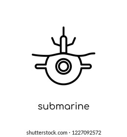 submarine icon. Trendy modern flat linear vector submarine icon on white background from thin line Army collection, outline vector illustration