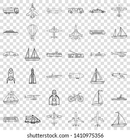 Submarine icons set. Outline style of 36 submarine vector icons for web for any design