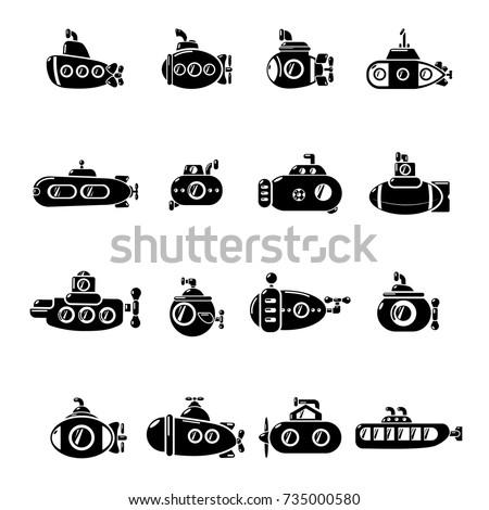Submarine icons set Simple