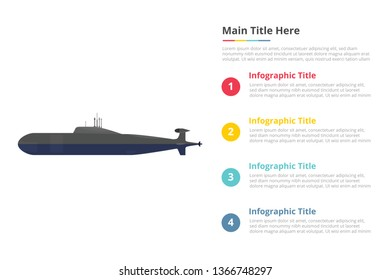 submarine infographics template with 4 points of free space text description - vector illustration