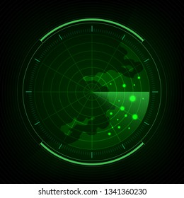 Submarine navy search, Abstract green radar with targets, Digital realistic radar screen, Military search system,  Vector illustration.