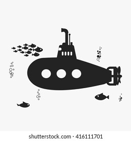 Submarine with periscope, underwater boat, fishes and bubbles. Black color silhouette, Flat design. Vector bathyscaphe icon